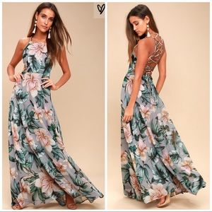 Love Abloom Grey Floral Print Lace Up Maxi Dress